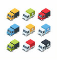 set isometric cartoon-style cargo cars vector image