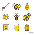 set of honey icons the line flat of bee vector image vector image
