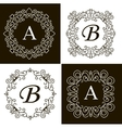 Set of monogram line vintage frames labels and vector image