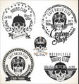 Set of vintage motorcycle emblems and labels