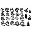 set rolled flowers collection rolled paper flower vector image vector image