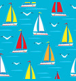 ship sailing boat sea seamless pattern vessel vector image vector image