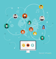 Social Network Concept Flat Design vector image vector image