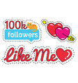 stickers for social network likes and followers vector image