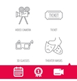 Ticket video camera and theater masks icons vector image vector image