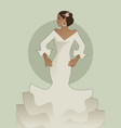 typical spanish woman wearing flamenco dress vector image vector image