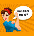 we can do it retro poster vector image