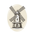 windmill logo or label farm agriculture bakery vector image vector image
