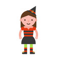 witch children in halloween costume flat design vector image