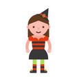 witch children in halloween costume flat design vector image vector image