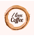 with I love coffee phrase and pour coffee vector image
