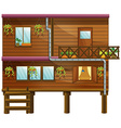 Wooden house with two stories vector image vector image