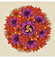 Round floral ornament like bouquet of flowers vector image