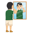 A Boy Facing The Mirror vector image