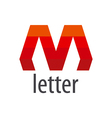 Abstract logo red letter M vector image vector image