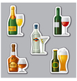 alcohol drinks stickers vector image vector image
