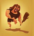 angry caveman character run vector image vector image