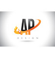 ap a p letter logo with fire flames design and vector image vector image