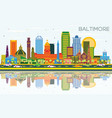 baltimore maryland city skyline with color vector image vector image