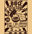 bbq party craft paper postertypography poster vector image
