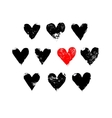 Black white and red grunge hearts print vector image vector image