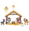 blue christmas nativity scene vector image