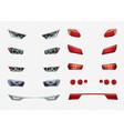 car headlights realistic transparent icon set vector image vector image