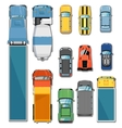 Cars and trucks top view set vector image