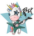 cartoon rock unicorn with a guitar vector image vector image