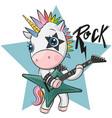 cartoon rock unicorn with a guitar vector image