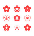 cherry blossom icon set vector image vector image