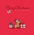 christmas and new year cute puppy cartoon card vector image