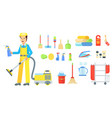 cleaning service staff man vector image
