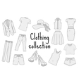 Clothing set hand drawing sketch doodle style vector image vector image