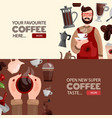 coffee production horizontal banners vector image vector image