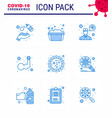 coronavirus prevention 25 icon set blue vector image vector image