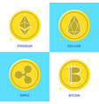 crypto currency icon set in flat style vector image vector image