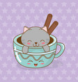 cute little cat with coffee cup kawaii character vector image