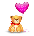 Cute teddy bear with in heart shape balloons vector image vector image
