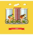 Cycling in the city flat design vector image vector image
