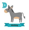 Donkey D letter Cute children animal alphabet in vector image vector image
