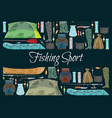 fishing sport banner with fisher equipment border vector image vector image