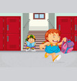girl running in school compound vector image