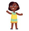happy little afro-american girl in yellow dress vector image vector image