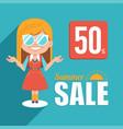 hot summer sale bannerbig summer salediscount 50 vector image