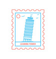 leaning tower postage stamp blue and red line vector image