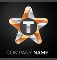 letter t logo symbol in the colorful star on black vector image vector image