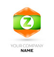 letter z logo in the colorful hexagonal vector image vector image