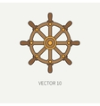 Line flat color marine icon with nautical vector image vector image