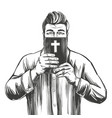 man protects his face with bible salvation vector image vector image